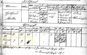 Fragment protokółu powizytacyjnego nauczyciela ewangelickiego Gottfrieda Mielke z 1870 roku z wyszczególnioną liczbą uczniów w Lipnicy